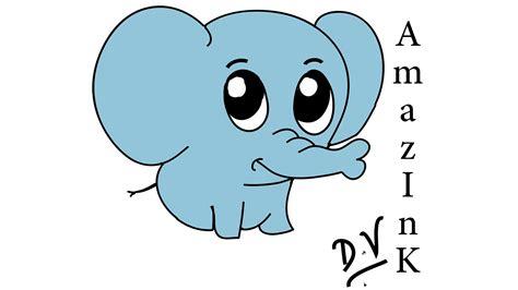 cute baby elephant cartoon drawing