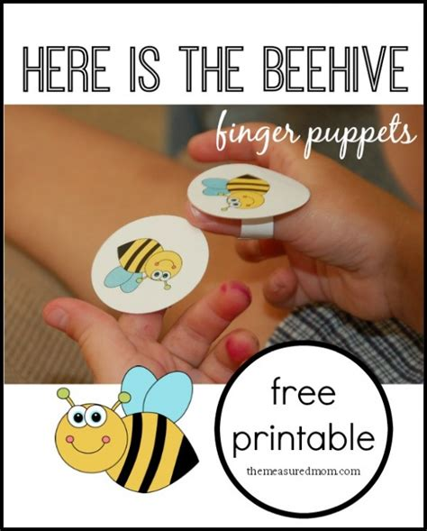 Bee Finger Puppet Template by Here Is The Beehive Rhyme For With Finger Puppets