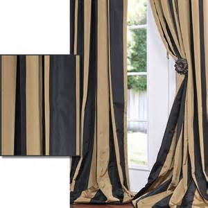 Black And White Striped Curtains 96 by Black Gold Stripe Faux Silk Taffeta 96 Inch Curtain Panel