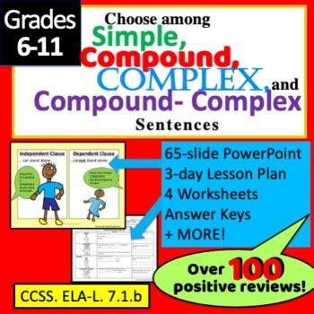 types  sentences simple complex compound  cc