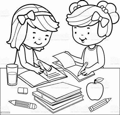 Homework Coloring Doing Students Drawing Classroom Imagenes