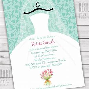 Wedding dress bridal shower invitations claudia party for Custom wedding shower invitations