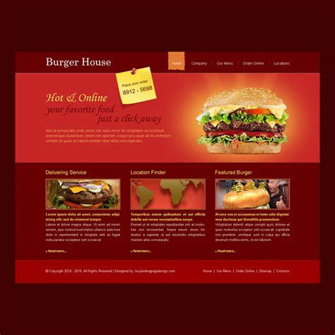 colorful  attractive  burger ordering website