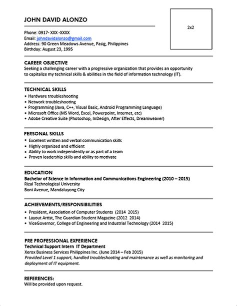 Post Resume by Contoh Resume For Fresh Graduate Objectives Gawe Cv