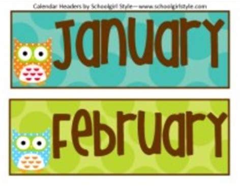 classroom decor owl calendar headers  schoolgirl style tpt