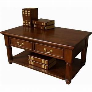 Mahogany 2 drawer pillar coffee table for Mahogany coffee table set