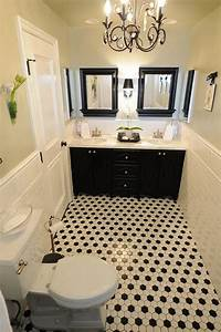 40 black and white bathroom floor tile ideas and pictures for White and black tile bathroom