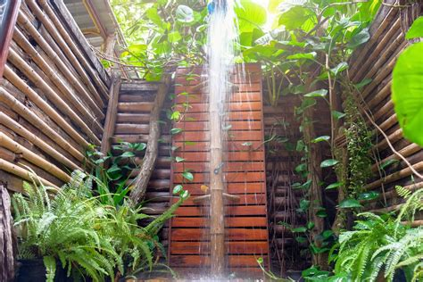 outdoor showers  trex decking rocky mountain forest