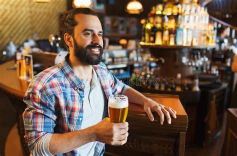 Happy Man Drinking Beer At Bar Or Pub Stock Image Image