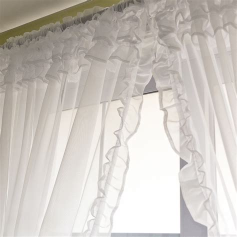 canopy bed curtain voile ruffle curtain