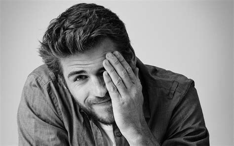 Liam Hemsworth Black And White Background High Quality