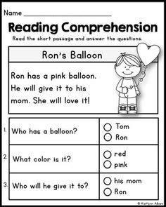 kindergarten reading comprehension passages valentines