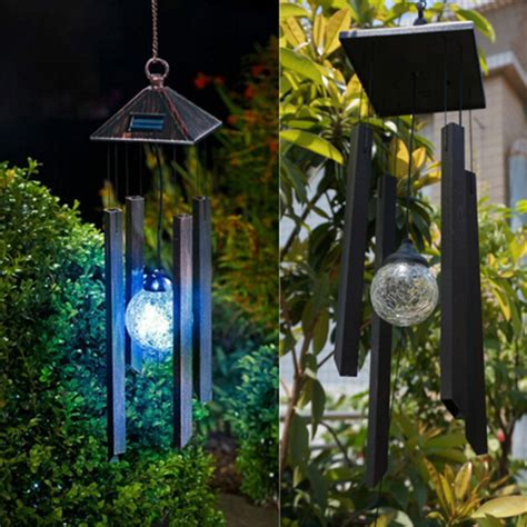 solar colour changing led light l wind chimes outdoor