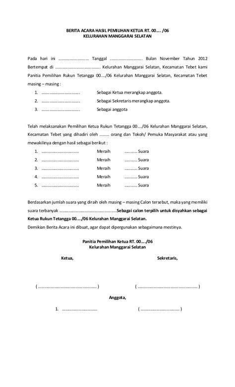 Contoh Berita Acara Laporan Pengurus by Form Pemilihan Ketua Rt