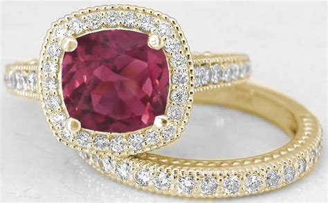 cushion pink tourmaline engagement rings with matching