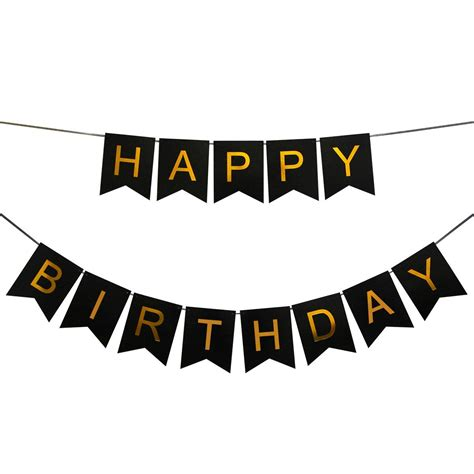 innoru tm happy birthday banner black and gold birthday bunting stylish decorations and party