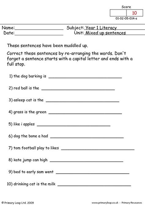 literacy mixed  sentences  worksheet primaryleapcouk