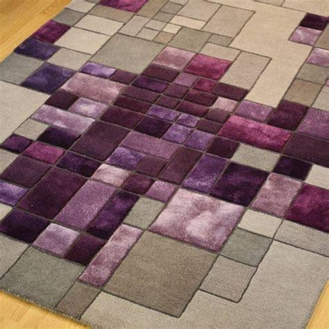 pixel  luxury wool  viscose handmade rug  purple