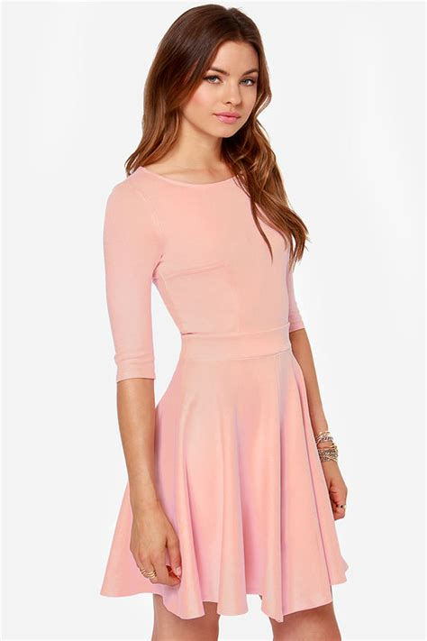 light pink dress with sleeves pink dress skater dress dress with sleeves 49 00