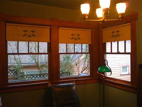 gingko stencil  ecru cotton cloth craftsman windows craftsman window trim window treatments
