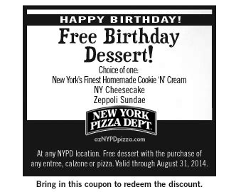72566 Nypd Pizza Coupons by Coupons Birthday New York Pizza Dept