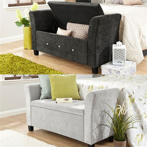chenille extra long storage bench and ottoman verona chenille diamante window seat ottoman storage box