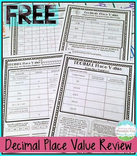 decimal place value resources teaching ideas teaching