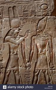 Ancient Egyptian hieroglyphics and wall relief showing god ...