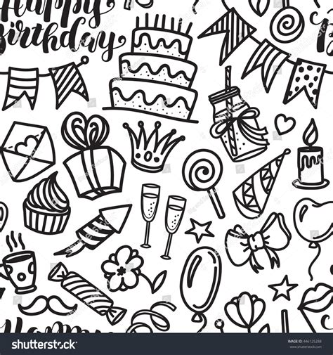 happy birthday lettering doodle seamless pattern stock