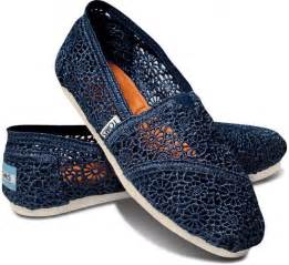 Navy Crochet Toms Shoes