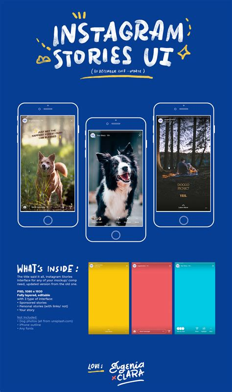 updated instagram stories interface psd freebies