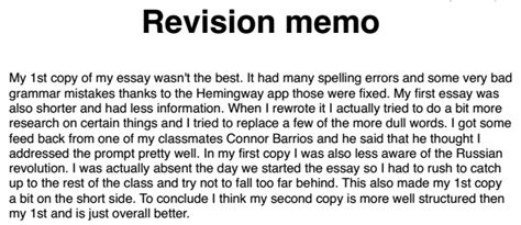 revision memo examples historyrewriter