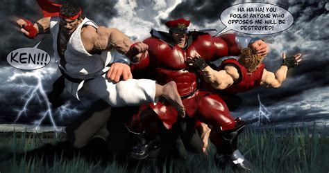 Street Fighter M Bison Vs Ken And Ryu By Jartistfact On