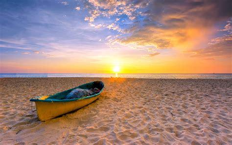 paysage marin ete plage bateau romantique coucher de