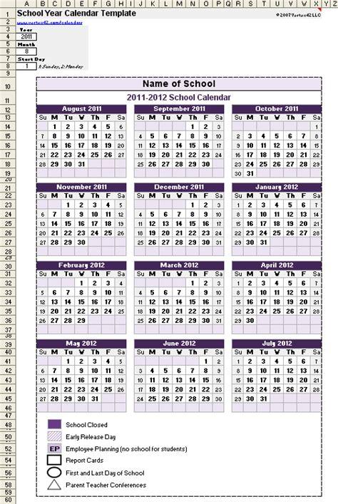 school calendar template   school year calendar