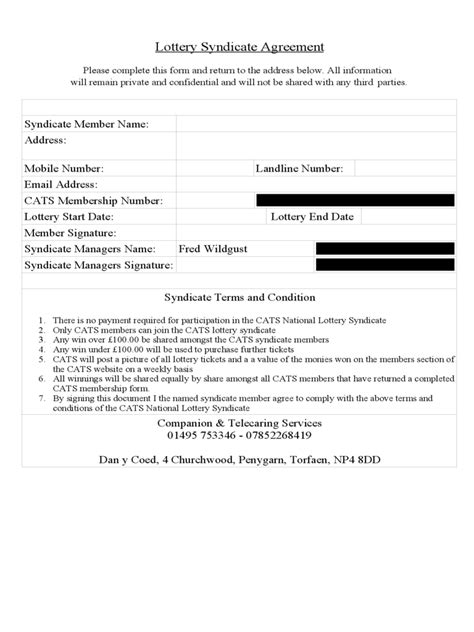 Lottery Syndicate Agreement Form