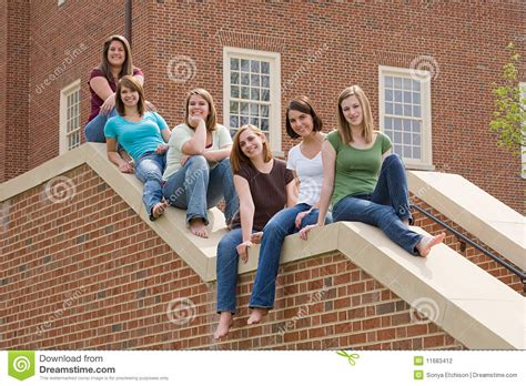 group  college girls stock photography image