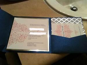 Coral royal blue wedding invitation mock up pic heavy for Royal blue and coral wedding invitations