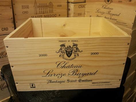 french crested  bottle wooden wine crate box christmas