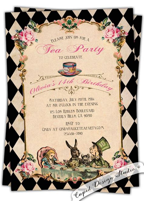 alice  wonderland invitation printablealice