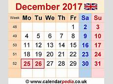 Calendar December 2017 UK, Bank Holidays, ExcelPDFWord