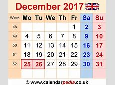 December 2017 Calendar With Holidays Uk printable 2017