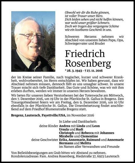 todesanzeige f 252 r friedrich rosenberg vom 02 12 2016 vn
