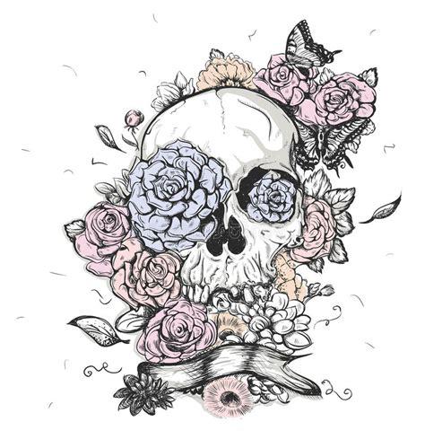 skull  flowers vector illustration day   dead stock vector image