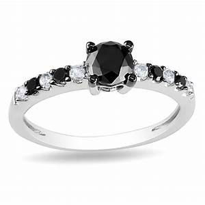 Black white diamond engagement ring unusual engagement for Black and white diamond wedding ring