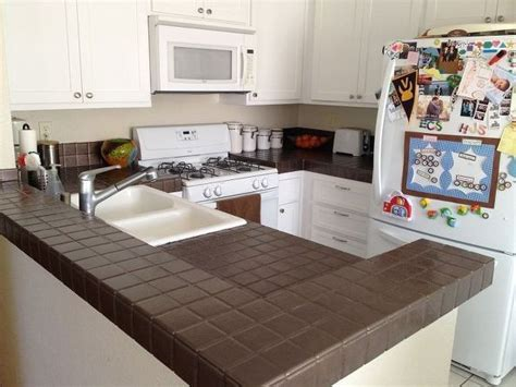 How To Cover A Tile Countertop by Kitchen Counter Makeover Enamels Tiling And Enamel Paint