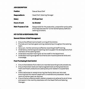 9 sous chef job description templates free sample for Samples of job descriptions templates