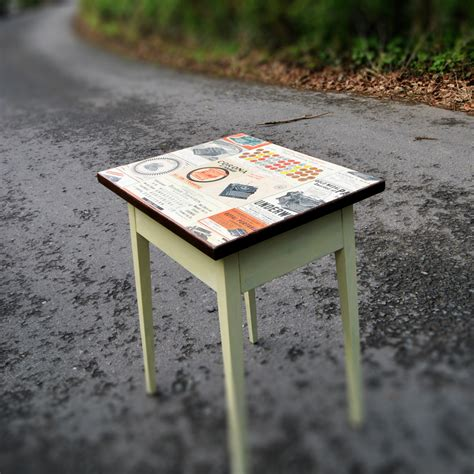small decoupage coffee table state of distress