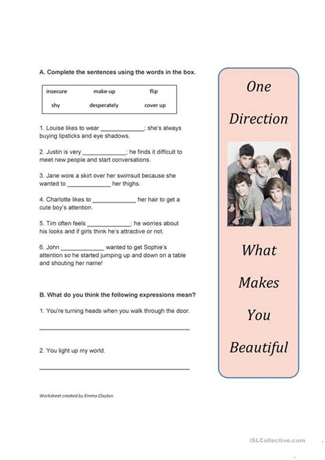 song worksheet    beautiful   direction