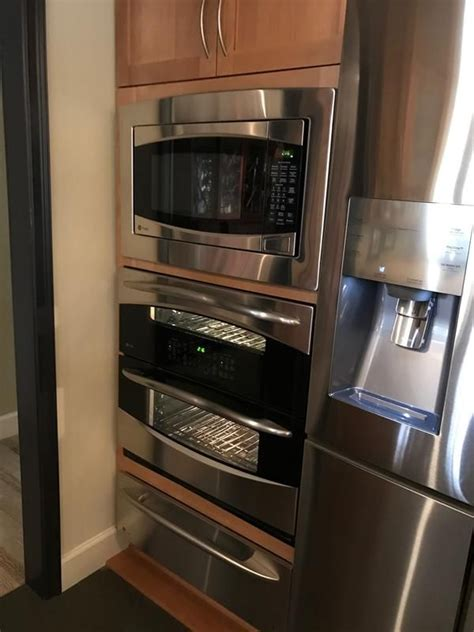 ge profile microwave single wall double oven  warming drawer combination double oven